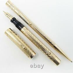 Sheaffer Flat Top Gold Filled Chevron Fountain Pen Set 14k Fine Nib, Restored