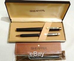 Sheaffer Targa 1003 Matte Black Fountain Pen With 14k Gold Nib & Ballpoint -new