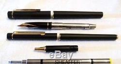 Sheaffer Targa 1003 Set Of Matte Black Fountain Pen & Rollerball Pen Nos Mint