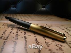 Vintage Montblanc 224 Fountain Pen-Matt Black/Matt Gold-14K Nib-Germany 1970s