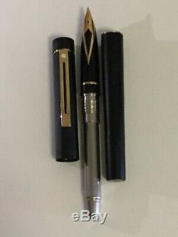 Vintage New Sheaffer Targa #1003 Matte Black & Fountain Pen 14k Medium USA