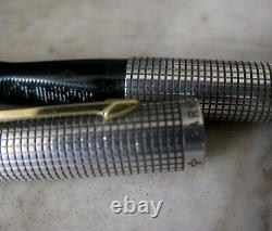 Vintage Scarce Parker 75 Sterling Silver Flat Top Fp Solid Gold 18 Carats Nib