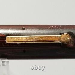 WAHL EVERSHARP SIGNATURE PEN 1920s, RED/BLACK HARDRUBBER, #2 NIB, Flat Top