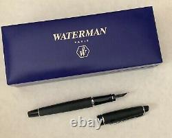 Waterman Expert II Black Matte Fountain Pen Med Nib 75325 Chrome Trim box Paris